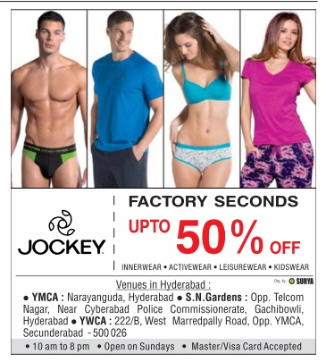 Factory seconds ! Up to 50% off sale in Jockey | April 2016 discount offers sale