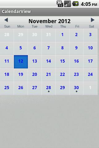 Android Calendar: Android Calendar Sample