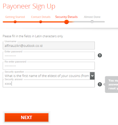 Security Details kalian harus memasukkan data keamanan kalian - Payoneer