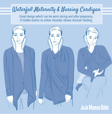 how a maternity and nursing waterfall cardigan can be worn