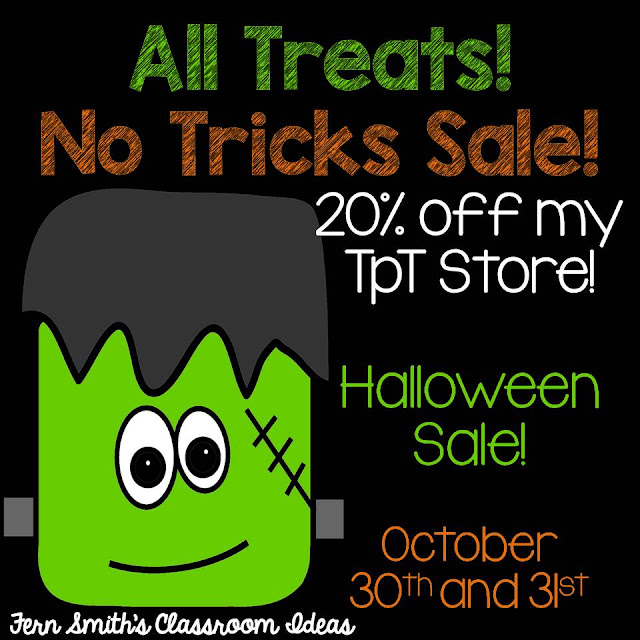 Fern Smith's Classroom Ideas Happy Halloween Sale, 2016 on TpT. No Tricks Just Treats for Teachers at my 20% Off at Teacherspayteachers store.