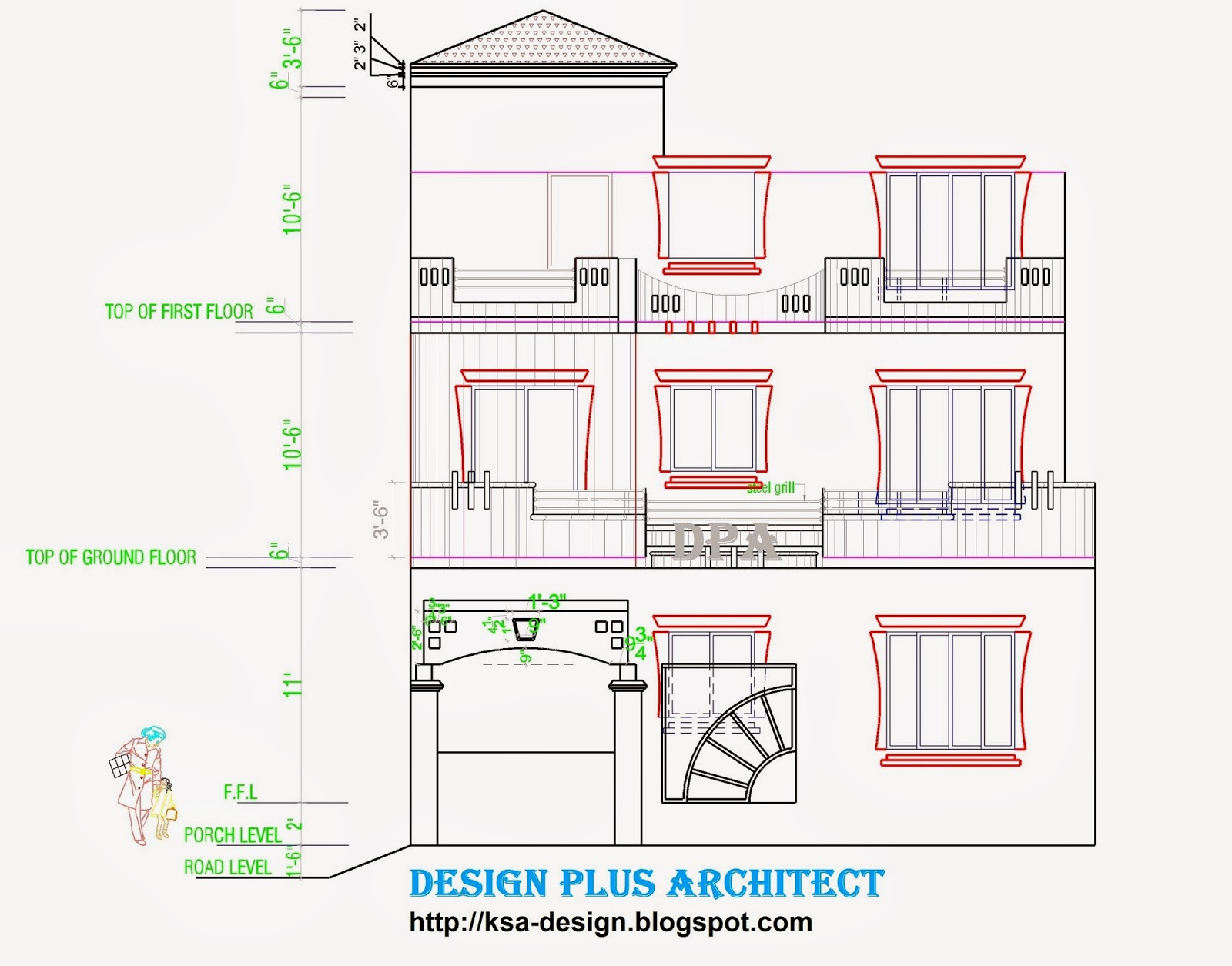 Home 2d Plans. Front Elevation Design Part 72
