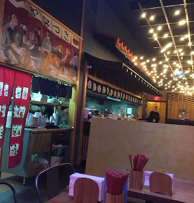 Japanese roof tiles over the noodle bar at Yamitsuki Ramen
