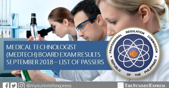 FULL RESULTS: September 2018 Medtech board exam list of