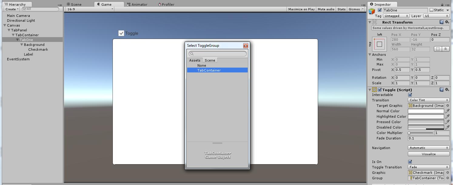Mateodon: Unity UI: Easy Tabs (no scripting)
