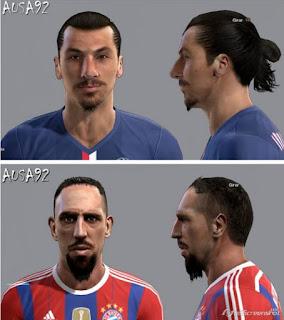 Faces: 1.Zlatan Ibrahimovic 2.Franck Ribery