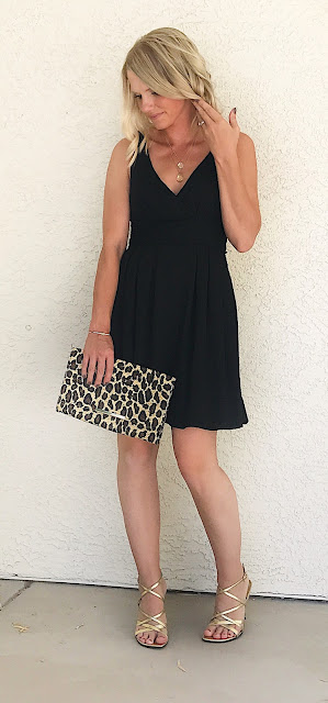 Thrifty Wife, Happy Life | LBD accessorized with gold and leopard