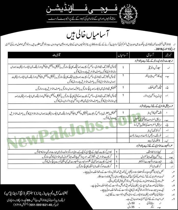 Jobs in Fouji Foundation Institute of Technology Sialkot 2019