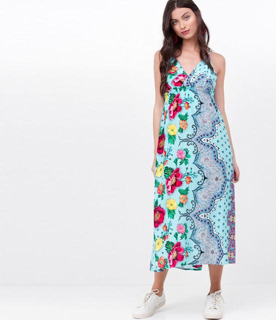 Moda feminina Vestido Midi Floral