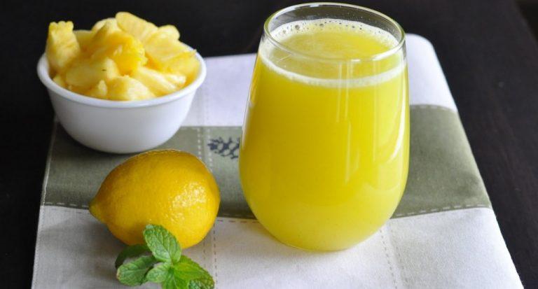 Suco Detox Energético de Abacaxi com Limão