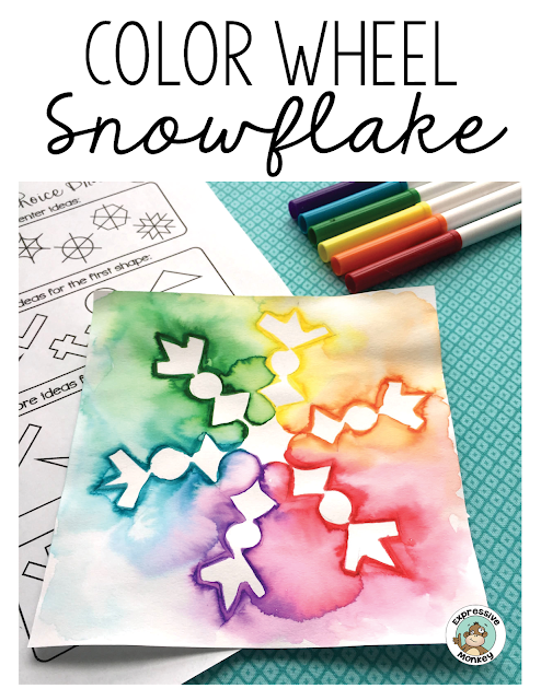 This color wheel snowflake is the perfect way to teach about color and also have a little fun with a winter activity.  See step by step how to draw a snowflake and use markers to blend the colors into a beautiful color spectrum.  #colorwheel #snowflakedrawing #artlessons #winterdrawing