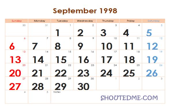 Kalender 1998 Masehi Bulan September