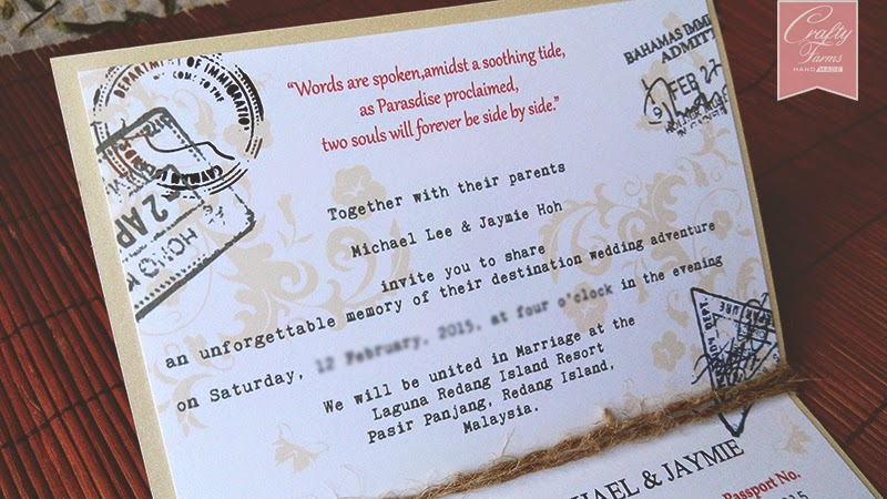 Vintage Nautical Passport Wedding Card with Anchor Charm available in Malaysia