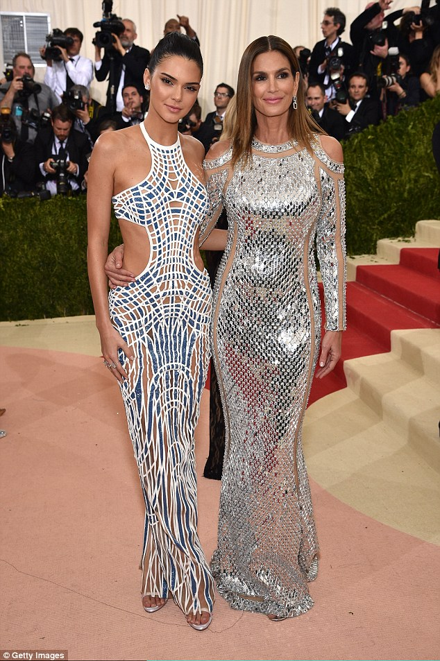 Kendall Jenner and Cindy Crawford at the 2016 Met Gala in NYC
