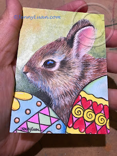 Baby Bunny Easter Egg ACEO Art Card