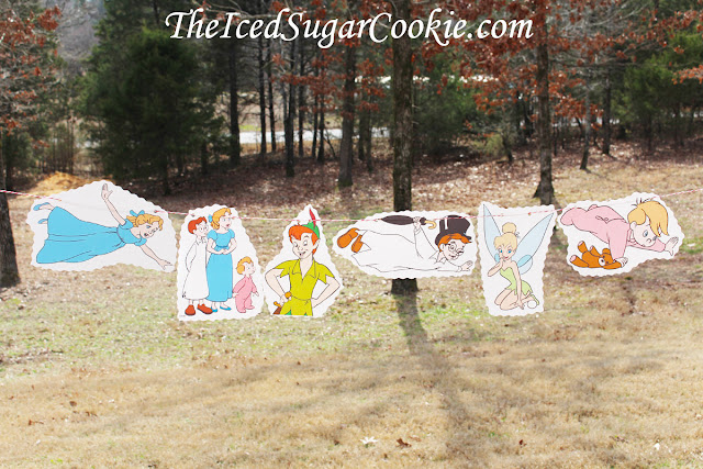 Peter Pan DIY Birthday Party Idea Neverland Tinkerbell John Michael Wendy Flag bunting Banner Garland