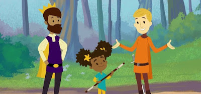 Príncipe Andrew (à esq.) e Sir Cedric têm até uma filha, Nia, na animação The Bravest Knight
