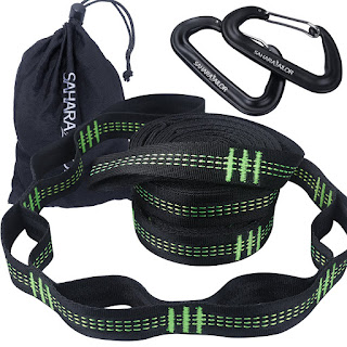 Hammock Straps (Set of 2), Sahara Sailor Hammock Tree Hanging Straps 1400+ LBS Heavy Duty Non-Stretch Suspension System Kit (12kN Aluminum Carabiners Set Included).