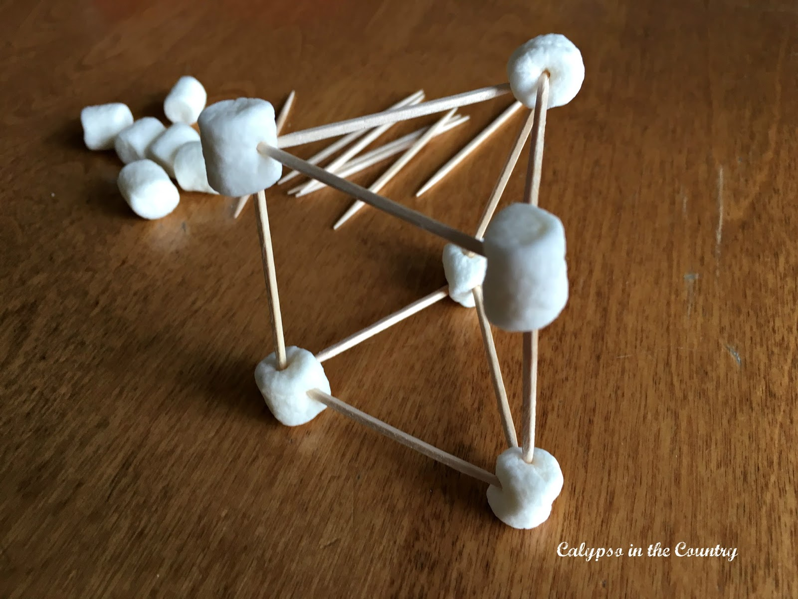Marshmallow Toothpick structure for a winter themed party game
