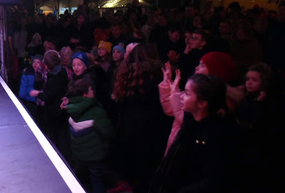 Young members of the audience enjoying on-stage entertainment at the Brigg Christmas lights switch-on 2018 in the Market Place on November 30