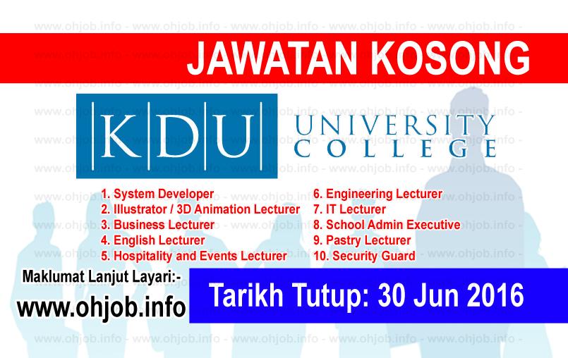 Jawatan Kerja Kosong KDU University College logo www.ohjob.info jun 2016