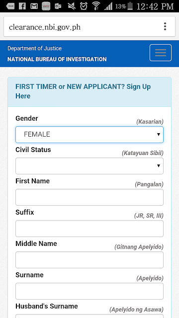 NBI Online Application Step 1