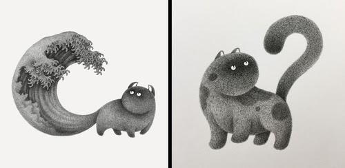 00-Kamwei-Fong-14-Furry-Cats-and-1-Furry-Monkey-Drawings-www-designstack-co