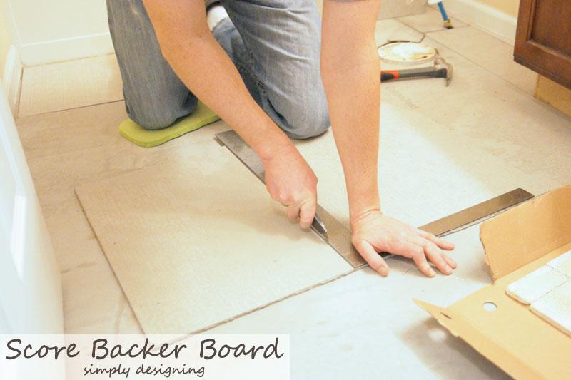 How to Score Concrete Backer Board for Tile Floor Installation {Tile Installation: Part 2} #diy #tile #bathroomremodel #thetileshop @thetileshop