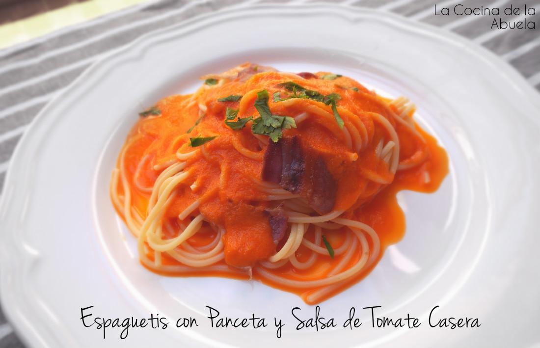 Espaguetis con panceta y salsa de tomate casera for Cocina casera de la abuela