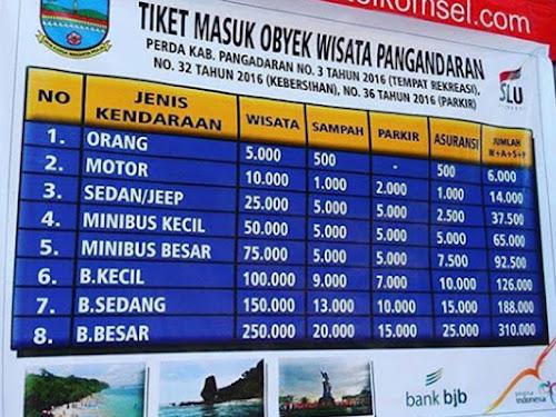 Tiket masuk terbaru Pantai Pangandaran 2018