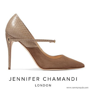 Queen Rania wore Jennifer Chamandi Lorenzo Suede And Elaphe Pumps