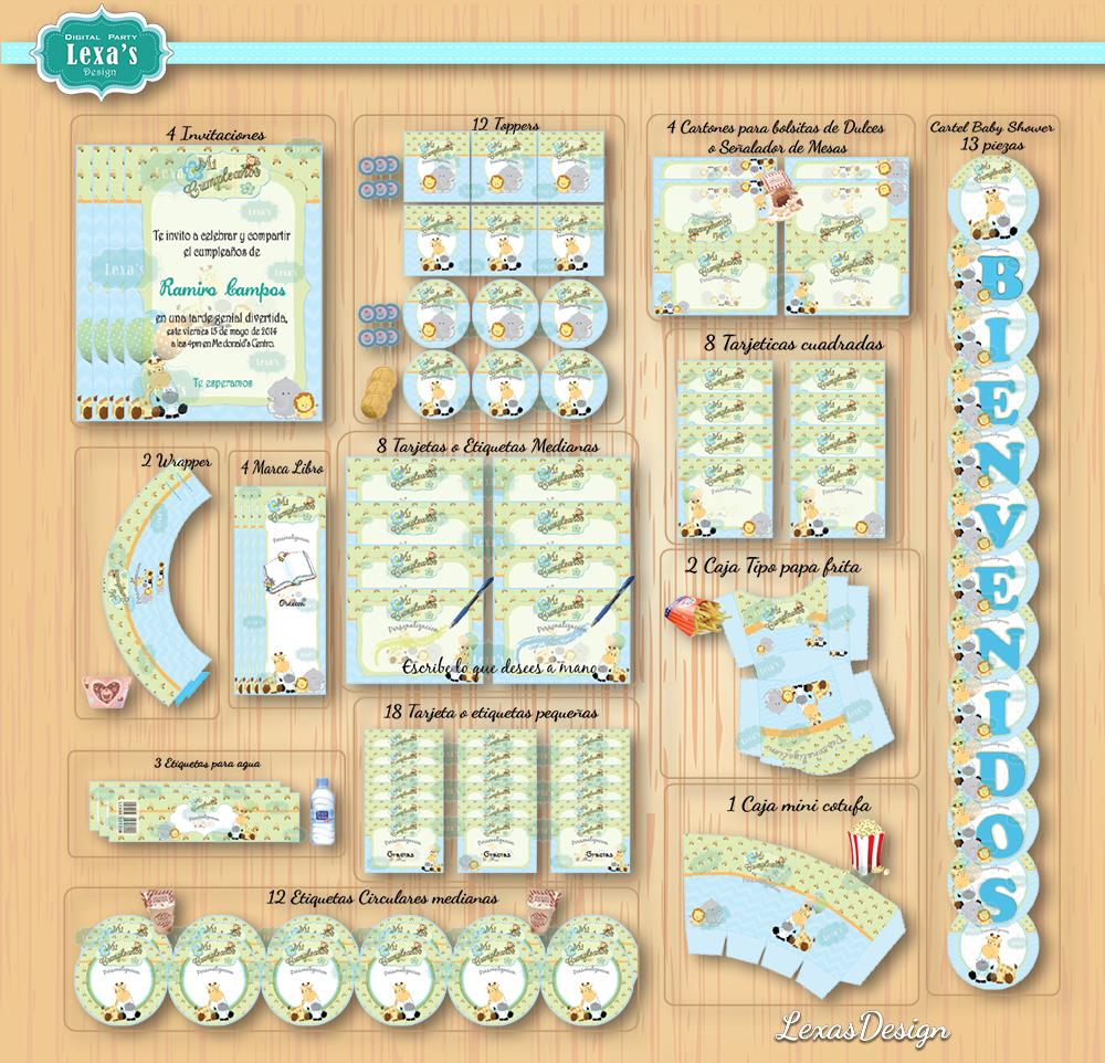 Kit imprimibles Safari Niños para fiestas  gratis
