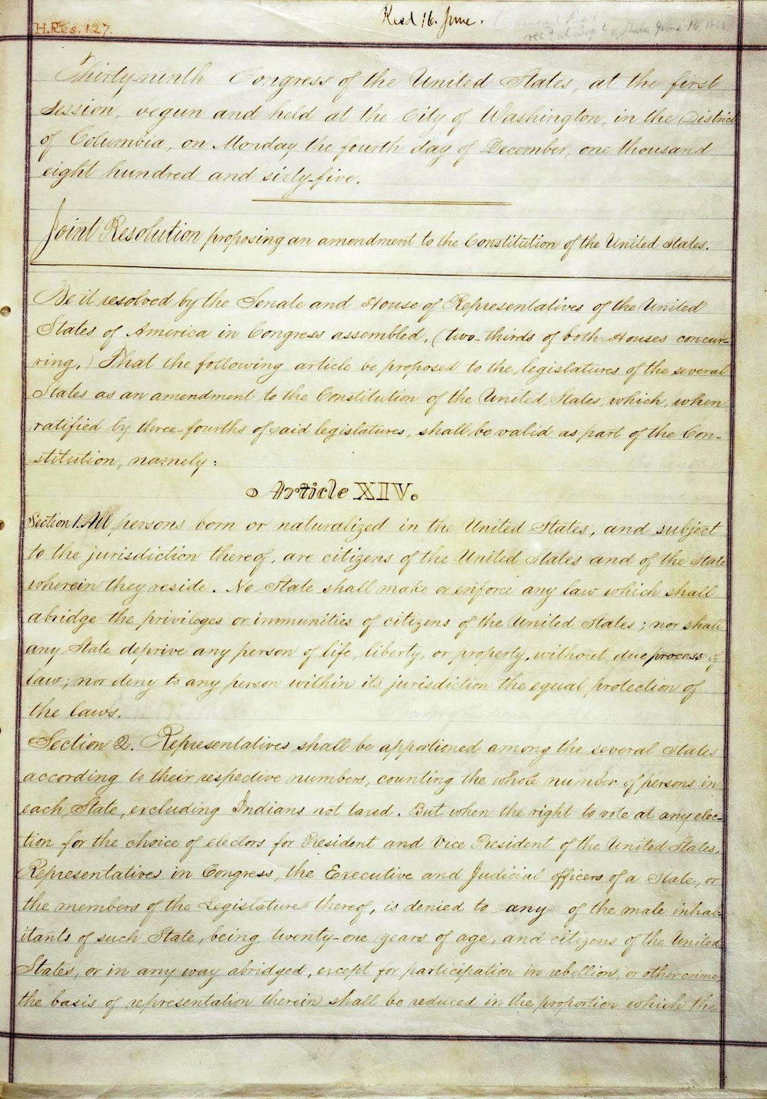 United States Constitution And Citizenship Day 14th Amendment