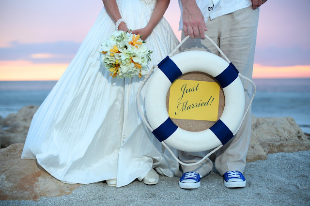 just married sign on captiva beach