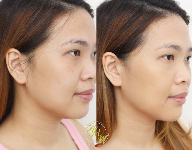 before and after photo of Artistry Exact Fit Longwearing Foundation