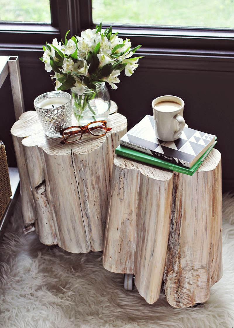 A Tree Stump As A Side Table Glamour Coastal Living