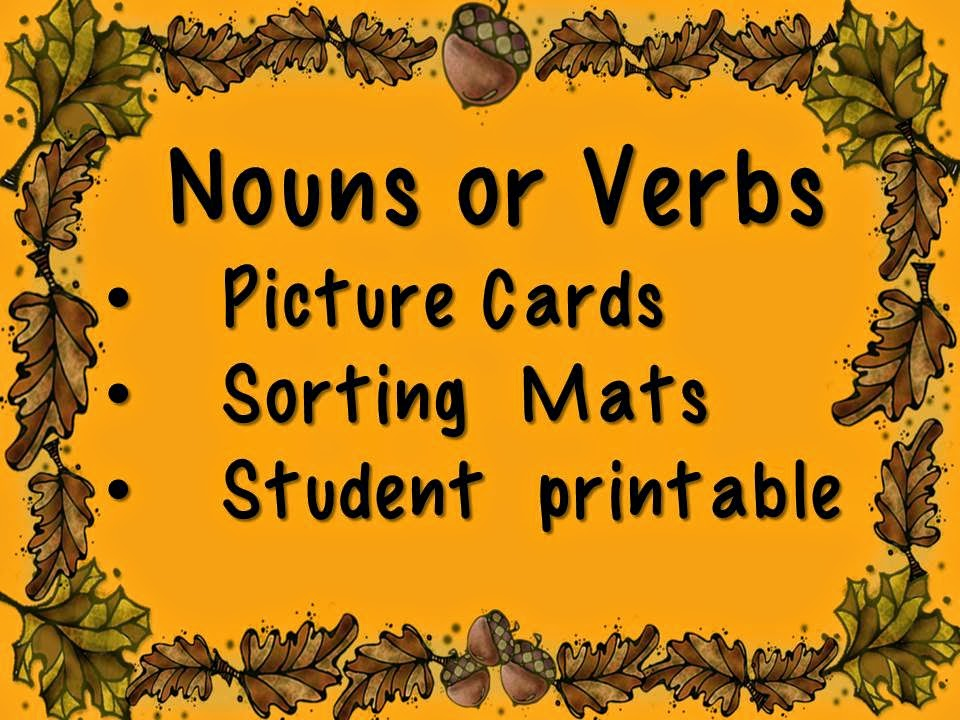 Noun or Verb Cards from Trick or Treat October Centers