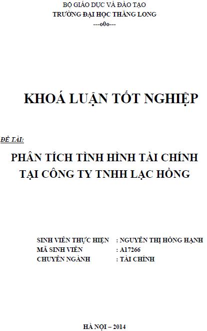 Phân tích tình hình tài chính tại Công ty TNHH Lạc Hồng