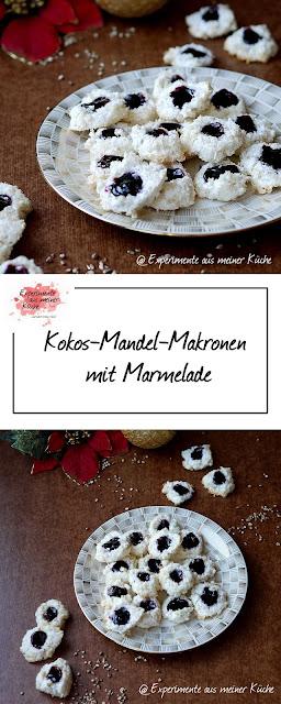 Kokos-Mandel-Makronen mit Marmelade | Rezept | Weihnachtsbäckerei