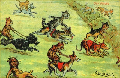 Cats racing drawing by Louis Wain