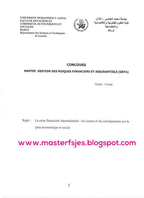 Concours d'accès au Master Gestion des Risques Financiers et Assurantiels (GRFA)