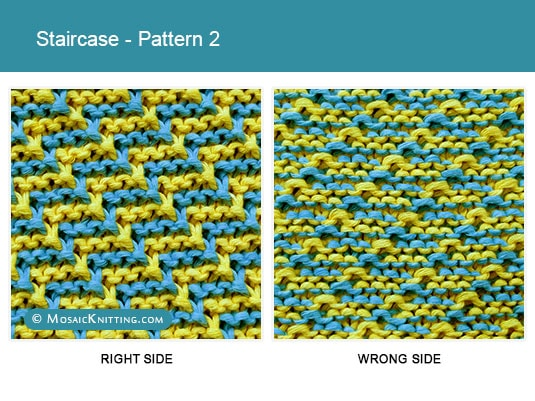 Mosaic Knitting - 2 Color Knit Stitch Pattern. Right side vs wrong side of the Staircase stitch - Pattern 2.