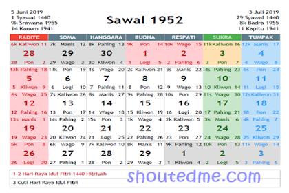 Kalender Jawa Juni 2019 Dilengkapi Weton dan Wuku