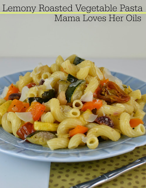 Great meatless meal that the kids will even enjoy! Fresh and delicious! Lemony Roasted Vegetable Pasta from Mama Loves Her Oils!