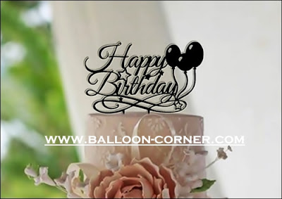 Cake Topper Acrylic Silver Motif HAPPY BIRTHHDAY