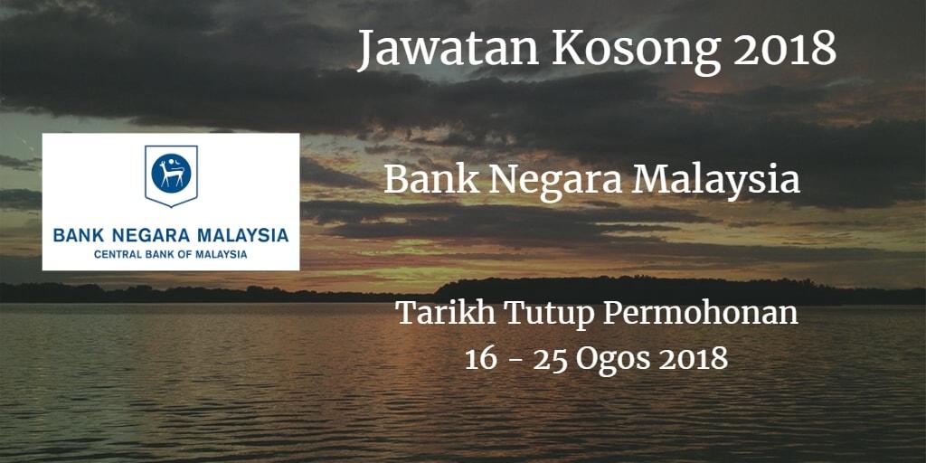 Jawatan Kosong BNM 16 - 25 Ogos 2018