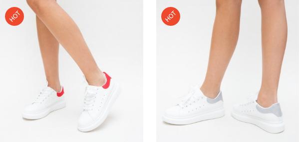 Adidasi albi ieftini de dama din piele eco moderni