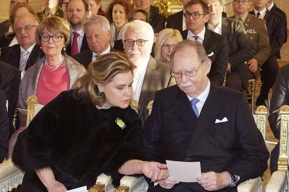Grand Duke Henri and Grand Duchess Maria Teresa of Luxembourg, former Grand Duke Jean, Hereditary Grand Duke Guillaume and his wife Duchess Stéphanie of Luxembourg