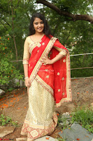 Akshara in Red Saree Golden Choli at LV Movie Makers Production No 1 Movie Opening ~  Exclusive 123.JPG