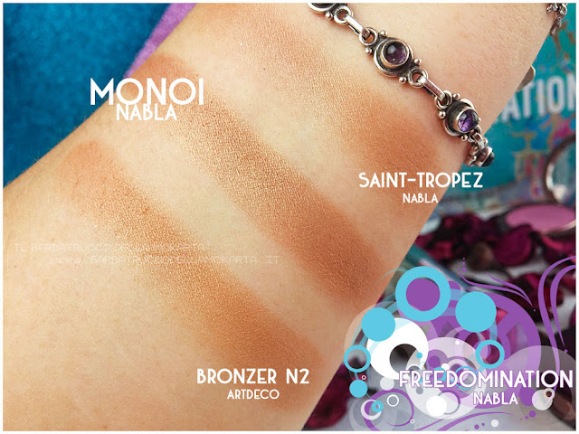 monoi bronzer  comparazioni nabla cosmetics  recensione shades & glow freedomination collection summer